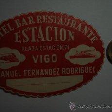 Etiquetas antiguas: 458 HOTEL ESTACION VIGO - ESPAÑA ETIQUETA HOTEL - MIRA MAS EN MI TIENDA. Lote 28866607