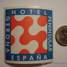 Etiquetas antiguas: 462 HOTEL PENISULAR GERONA GIRONA - ESPAÑA ETIQUETA HOTEL - MIIRA MAS EN MI TIENDA. Lote 28866648
