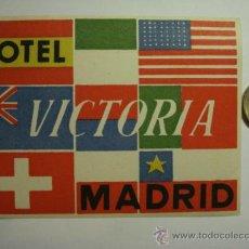 Etiquetas antiguas: 467 HOTEL VICTORIA MADRID - ESPAÑA ETIQUETA HOTEL - MIIRA MAS EN MI TIENDA. Lote 28866701