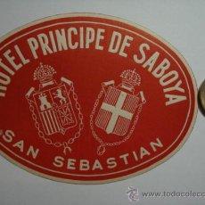 Etiquetas antiguas: 468 HOTEL PRINCIPE DE SABOYA SAN SEBASTIAN - ESPAÑA ETIQUETA HOTEL - MIIRA MAS EN MI TIENDA. Lote 28866714