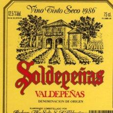Etiquetas antiguas: VINO TINTO SECO 1986 SOLDEPEÑAS VALDEPEÑAS DENOMINACIÓN DE ORIGEN NUEVA ORIGINAL. Lote 28922189