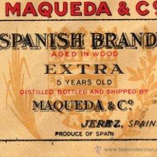 Etiquetas antiguas: MOSQUEDA JEREZ MAQUEDA Y CÍA NUEVA ORIGINAL. Lote 28922797