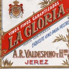 Etiquetas antiguas: VINOS FINOS GARANTIZADOS LA GLORIA JEREZ NUEVA ORIGINAL. Lote 28923173