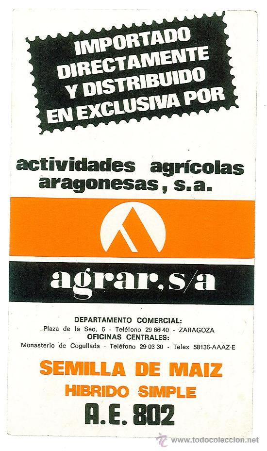 PEGATINA ADHESIVA PUBLICIDAD ACTIVIDADES AGRICOLAS ARAGONESAS AGRAR S.A. ZARAGOZA (Coleccionismo - Etiquetas)