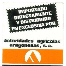 Etiquetas antiguas: PEGATINA ADHESIVA PUBLICIDAD ACTIVIDADES AGRICOLAS ARAGONESAS AGRAR S.A. ZARAGOZA. Lote 29143722
