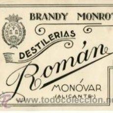 Etiquetas antiguas: MONOVAR (ALICANTE.- BRANDY 'MONROT' DE DESTILERÍAS ROMÁN.- TAMAÑO 12,7 X 10 CM.. Lote 37496387