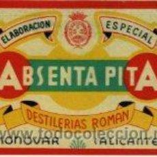 Etiquetas antiguas: MONOVAR (ALICANTE).- ABSENTA 'PITA' DE DESTILERÍAS ROMÁN.- TAMAÑO 12 X 8 CM.. Lote 37496381