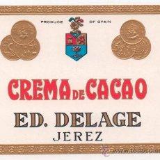 Etiquetas antiguas: ETIQUETA CREMA DE CACAO. Lote 31970651