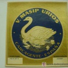 Etiquetas antiguas: 25 ETIQUETAS DE NARANJAS - V. MASIP URIOS - CISNE - CARCAGENTE (VALENCIA). Lote 205900671