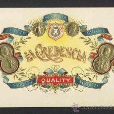 Etiquetas antiguas: ETIQUETA DE TABACO EN RELIEVE CREDENCIA. Lote 30394318