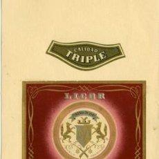 Etiquetas antiguas: LICOR ESTOMACAL ALTAM'S. DESTILERÍAS ALTIMIRAS. ETIQUETAS PEGADAS EN LA CARTULINA DEL MUESTRARIO.. Lote 30508527