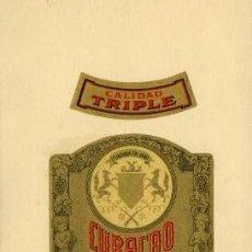 Etiquetas antiguas: CURAÇAO ALTAM'S.- DESTILERÍAS ALTIMIRAS.- ETIQUETAS PEGADAS EN LA CARTULINA DEL MUESTRARIO.. Lote 30508561