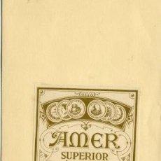 Etiquetas antiguas: AMER SUPERIOR.- DESTILERÍAS ALTIMIRAS.- ETIQUETA PEGADA EN LA CARTULINA DEL MUESTRARIO.. Lote 30508577