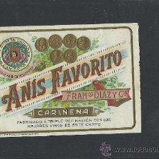 Etiquetas antiguas: ETIQUETA ANIS FAVORITO - FRANCISCO DIAZ - CARIÑENA - (E-146). Lote 30710908