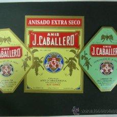 Etiquetas antiguas: 3 ETIQUETA DIFERENTES DE ANIS J. CABALLERO - RUTE - CORDOBA. Lote 30893385