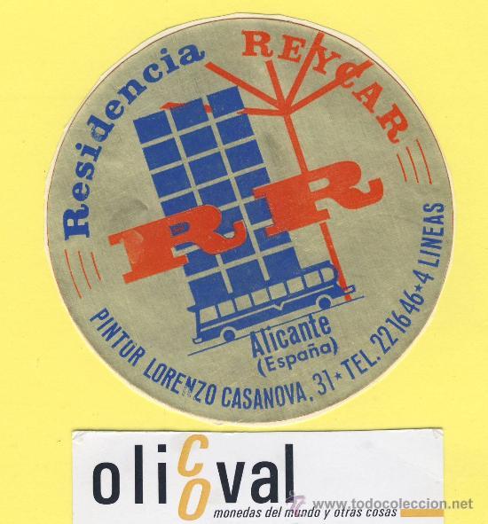 ETIQUETA HOTEL- ALICANTE -RESIDENCIA REYCAR R R ALICANTE 85 MM (Coleccionismo - Etiquetas)