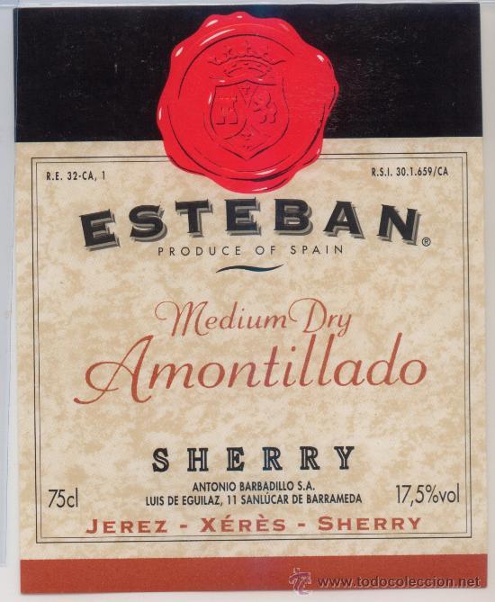 ETIQUETA MEDIUM DRY AMONTILLADO SHERRY ET-1365 (Coleccionismo - Etiquetas)