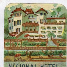 Etiquetas antiguas: ETIQUETA ORIGINAL 14 X 10 CM. HOTEL NACIONAL. PALMA DE MALLORCA. Lote 31318559