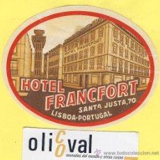 Etiquetas antiguas: ETIQUETA HOTEL- HOTEL FRACFORT -LISBOA- - PORTUGAL 115 MM. Lote 31695281