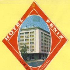 Etiquetas antiguas: ETIQUETA HOTEL- HOTEL FENIX -LISBOA -HUSA- PORTUGAL 135 X 115 MM. Lote 31696202