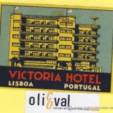 Etiquetas antiguas: ETIQUETA HOTEL- HOTEL VICTORIA -LISBOA-. PORTUGAL 120 X 90 MM. Lote 31696984