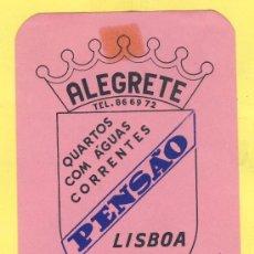 Etiquetas antiguas: ETIQUETA HOTEL- HOTEL PENSAO ALEGRETE- TEL- -LISBOA- PORTUGAL 105 X 70 MM. Lote 31697905
