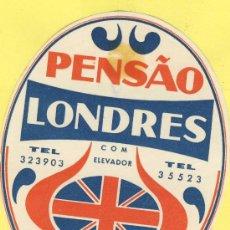 Etiquetas antiguas: ETIQUETA HOTEL- HOTEL PENSAO LONDRES - TEL-LISBOA- PORTUGAL 105 X 80 MM. Lote 31698117