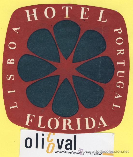 ETIQUETA HOTEL- HOTEL FLORIDA - TEL-LISBOA- PORTUGAL 105 X 105 MM (Coleccionismo - Etiquetas)