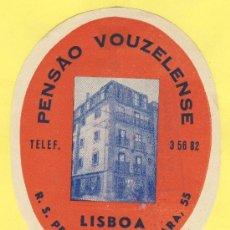 Etiquetas antiguas: ETIQUETA HOTEL- HOTEL PENSAO VOUZLENSE -TEL-LISBOA- PORTUGAL 105 X 83 MM. Lote 31698963
