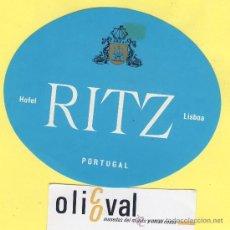 Etiquetas antiguas: ETIQUETA HOTEL- HOTEL RITZ -LISBOA- PORTUGAL 115 MM CELESTE. Lote 31699658