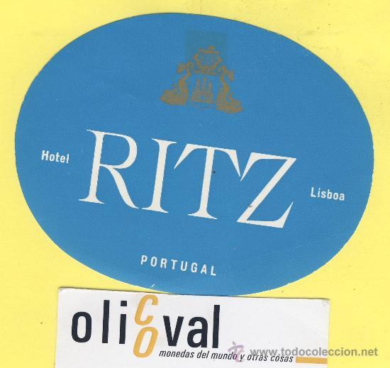 ETIQUETA HOTEL- HOTEL RITZ -LISBOA- PORTUGAL 115 MM AZUL (Coleccionismo - Etiquetas)