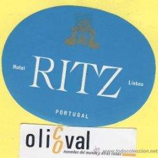 Etiquetas antiguas: ETIQUETA HOTEL- HOTEL RITZ -LISBOA- PORTUGAL 115 MM AZUL. Lote 31699674