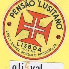 Etiquetas antiguas: ETIQUETA HOTEL- HOTEL PENSAO LUSITANO -LISBOA-TEL- PORTUGAL 95 MM . Lote 31700478
