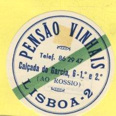 Etiquetas antiguas: ETIQUETA HOTEL- HOTEL PENSAO VINHAIS -LISBOA- TEL -PORTUGAL 72 MM. Lote 31700551