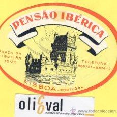 Etiquetas antiguas: ETIQUETA HOTEL- HOTEL PENSAO IBERICA -LISBOA-TEL -PORTUGAL 125 MM . Lote 31700727