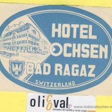 Etiquetas antiguas: LABEL HOTEL - SERIE MONTAÑA HOTEL HOTEL OCHSEN SUIZA 140 98 MM . Lote 31653011