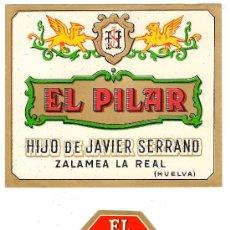 Etiquetas antiguas: DOS ETIQUETAS DE LA DESTILERÍA EL PILAR.. Lote 34444913