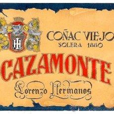Etiquetas antiguas: ANTIGUA ETIQUETA DE COÑAC CAZAMONTE.. Lote 31903506