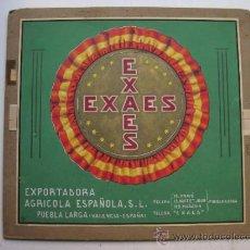Etiquetas antiguas: ORIGINAL PINTADO A MANO DE ETIQUETAS DE NARANJAS EXAES, PUEBLA LARGA, VALENCIA - 1950-60. Lote 31966778