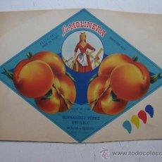 Etiquetas antiguas: PRUEBA IMPRENTA COLOR ETIQUETAS MELOCOTON - LA MOLINERA - MOLINA DE SEGURA, MURCIA - 1950-60. Lote 31971441