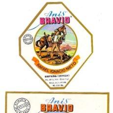 Etiquetas antiguas: ETIQUETAS DE ANÍS Y DE LICORES BRAVÍO.. Lote 32033676