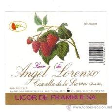 Etiquetas antiguas: ETIQUETA LICOR DE FRAMBUESA.. Lote 32033824
