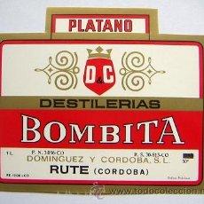 Etiquetas antiguas: ETIQUETA DE LICOR DE PLATANO BOMBITA RUTE CORDOBA. Lote 32469973