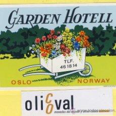 Etiquetas antiguas: ETIQUETA HOTEL - NORUEGA -HOTEL GARDEN-OSLO 113 X 75 MM. Lote 32374973