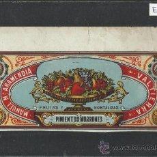Etiquetas antiguas: ETIQUETA - CONSERVAS MANUEL MARIA ARAMENDIA - PIMIENTOS - VALTIERRA - AÑO 1898 - (ET-178). Lote 32420973