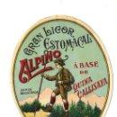 Etiquetas antiguas: ENRIQUE LLADO - ARENYS DE MUNT **GRAN LICOR ESTOMACAL -ALPINO**. Lote 33096696