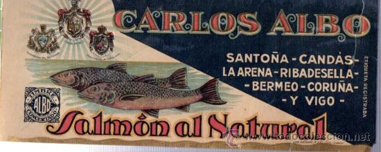 ETIQUETA CARLOS ALBO, SALMÓN AL NATURAL, TIMBRE CONCENTRADO ALBO, 25X10CM (Coleccionismo - Etiquetas)