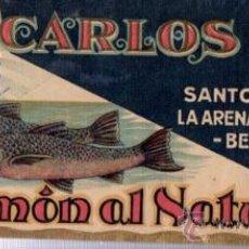 Etiquetas antiguas: ETIQUETA CARLOS ALBO, SALMÓN AL NATURAL, TIMBRE CONCENTRADO ALBO, 25X10CM. Lote 89519682