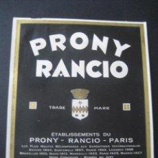 Etiquetas antiguas: ANTIGUA ETIQUETA DE BEBIDAS. VINO PRONY RANCIO. Lote 33434787