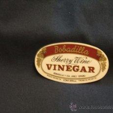Etiquetas antiguas: ETIQUETA ADHESIVA - BOBADILLA - SHERRY WINE - VINEGAR - . Lote 33744970